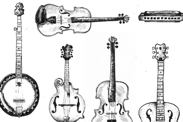 Original hand drawn sketch of the types of bluegrass instruments for the Bearings Guide's series of letterpress illustrated infographics.