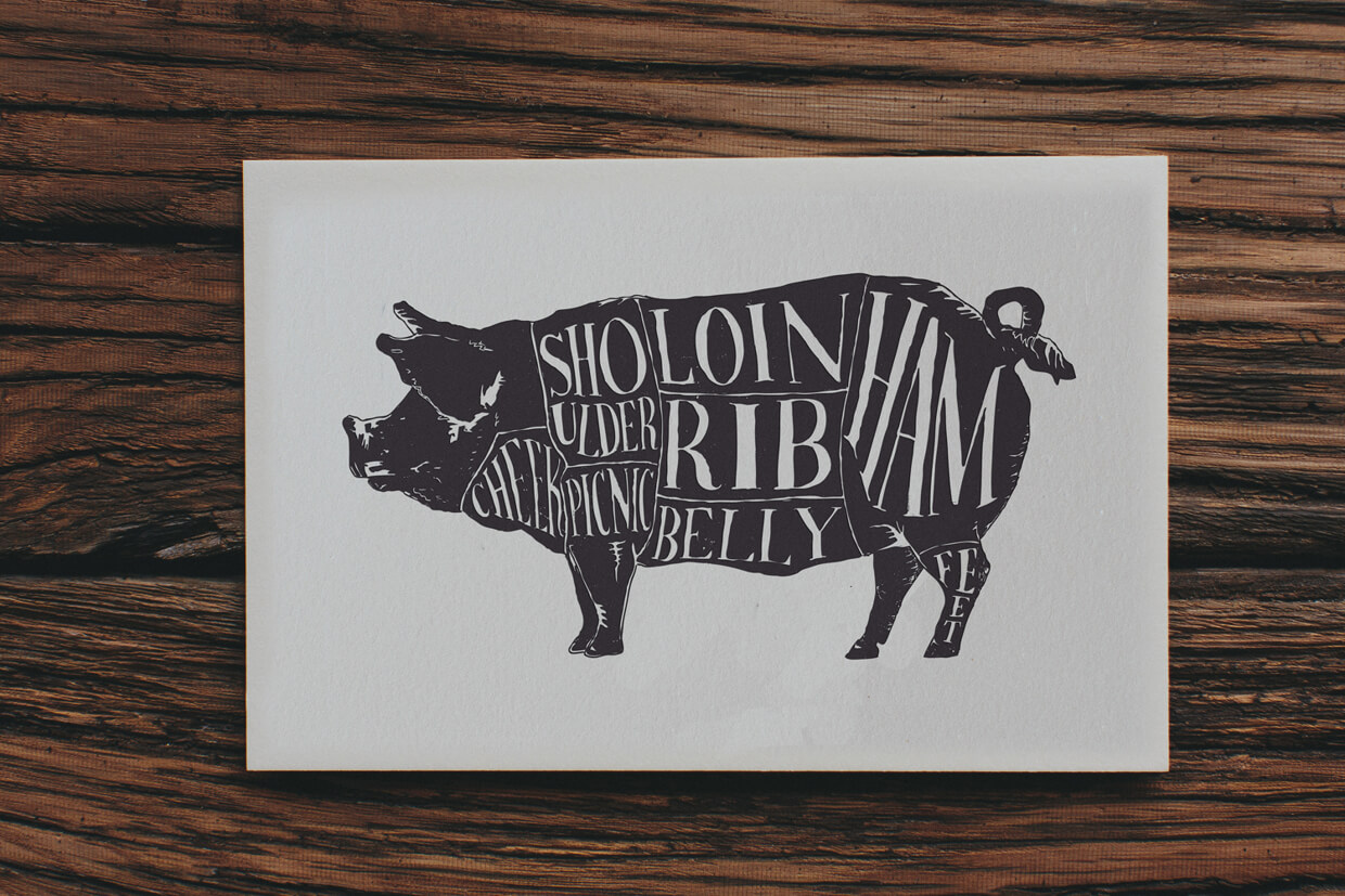 Silk screen printed poster and fine art print graphic design of the types of cuts of meat on a pig in brown ink.