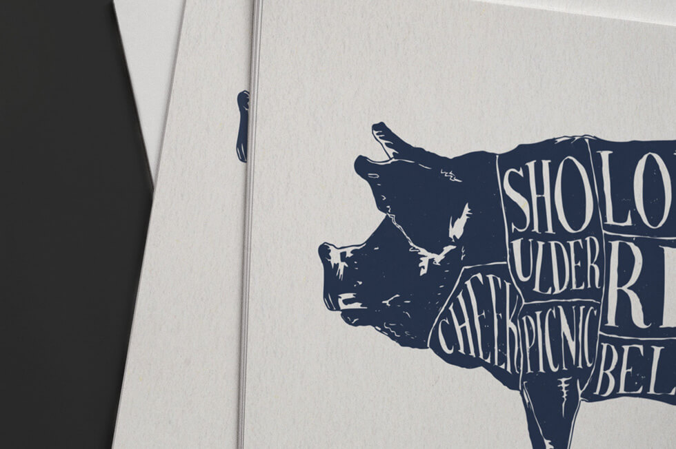 Tthe types of cuts of meat on a pig in navy blue ink silk screen printed poster and fine art print graphic design.