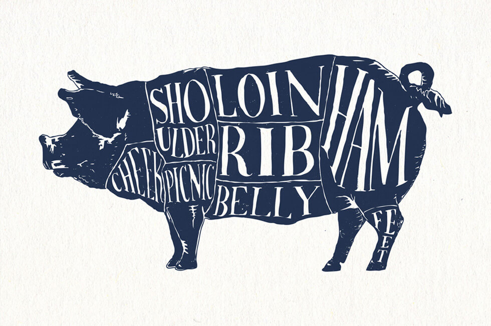 Handmade illustration and hand drawn lettering design for the Pork Chart cuts of meat diagram of a pig and illustrated infographic in Bearings Guide's screen printed poster series.
