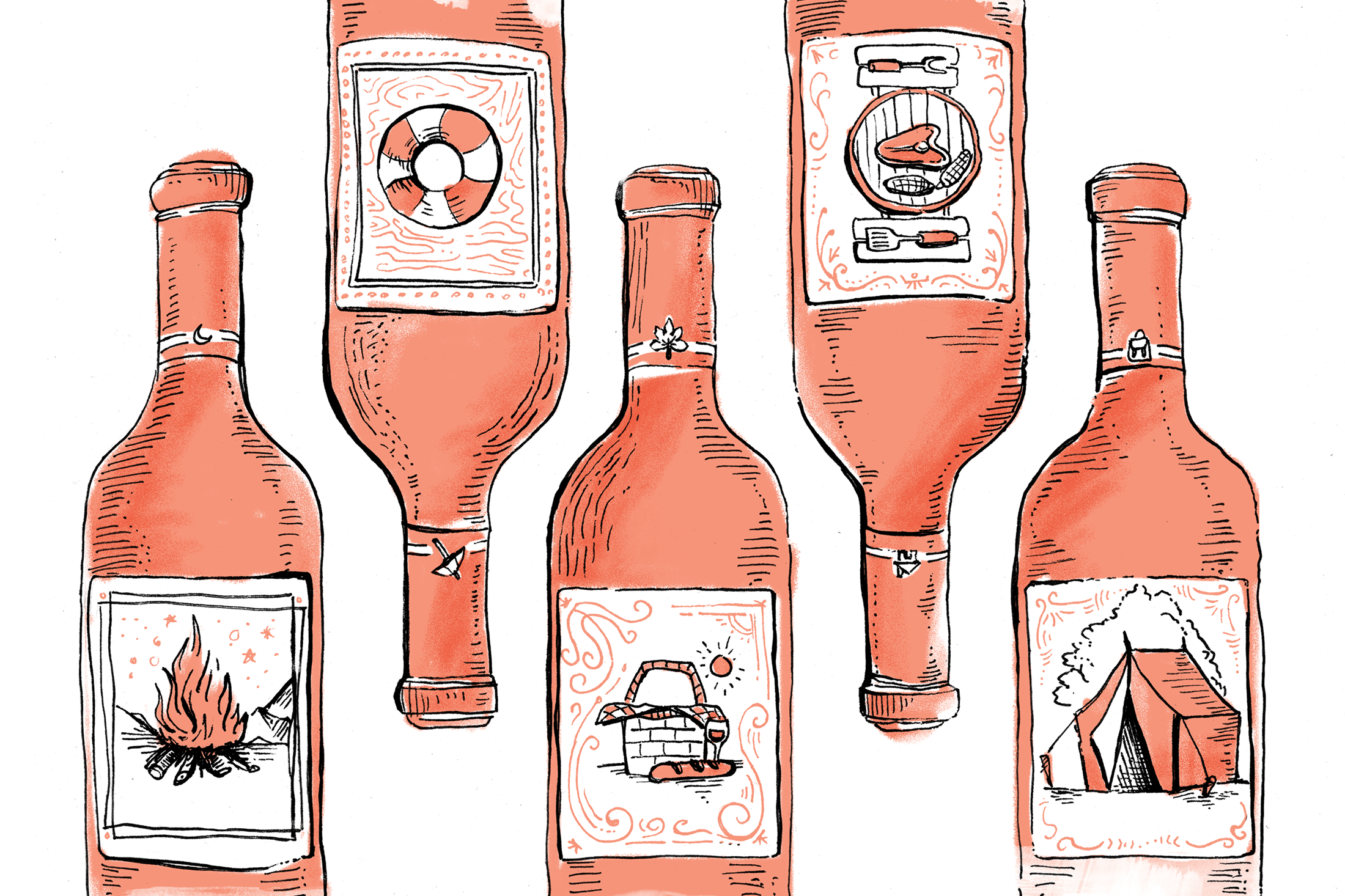 Hand drawn illustration of five wine bottles with each one's label showing a different summer activity.