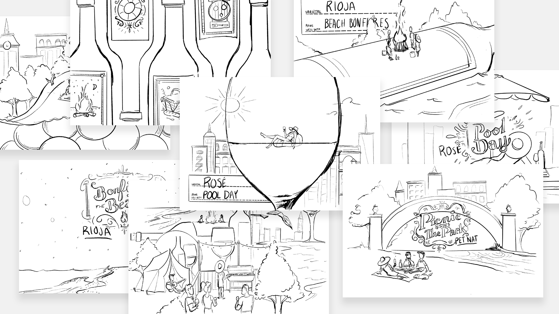 Other concept sketches for the New York Magazine summer wine pairings editorial artwork.
