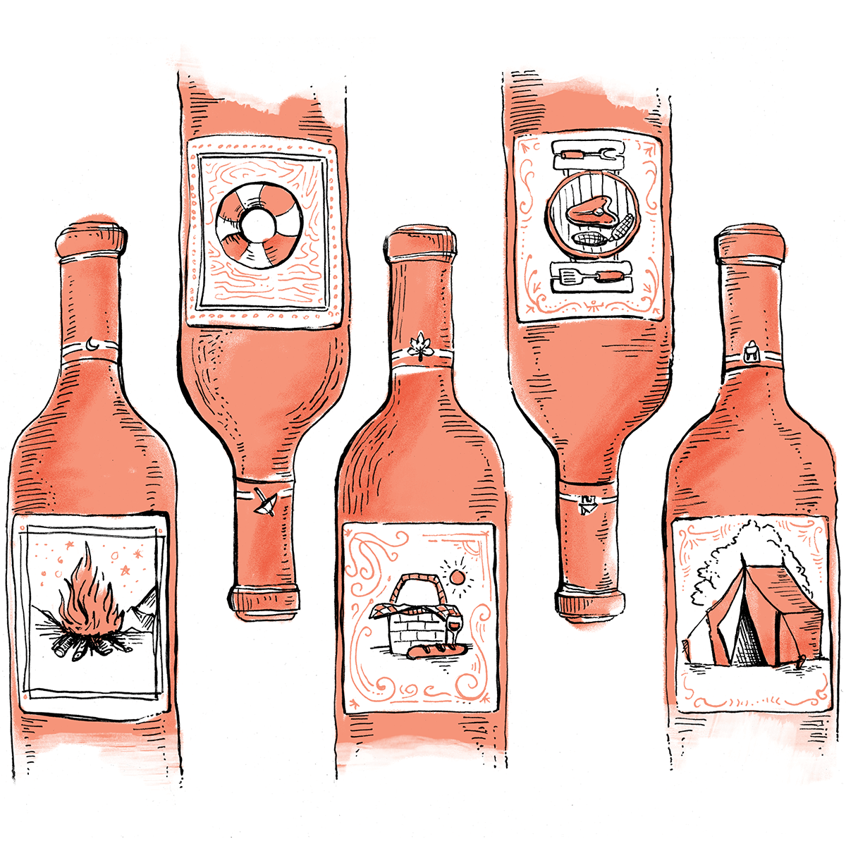 New York Magazine, Summer Wine Pairings - Illustrations for New York Magazine's article with Sweetbitter's Stephanie Danler on five wines that pair well with your favorite summer activities.IllustrationView Project →