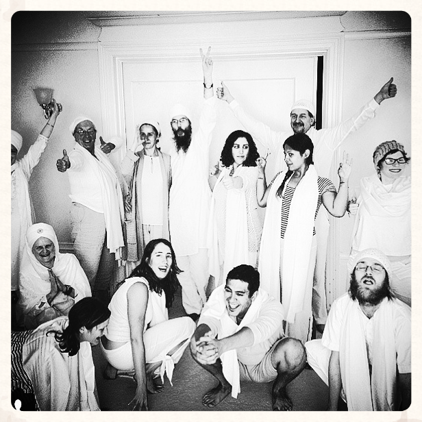 Kundalini Sangha, Graduation, 2014. That's me on the lower left trying to bite Jaynie's ass.