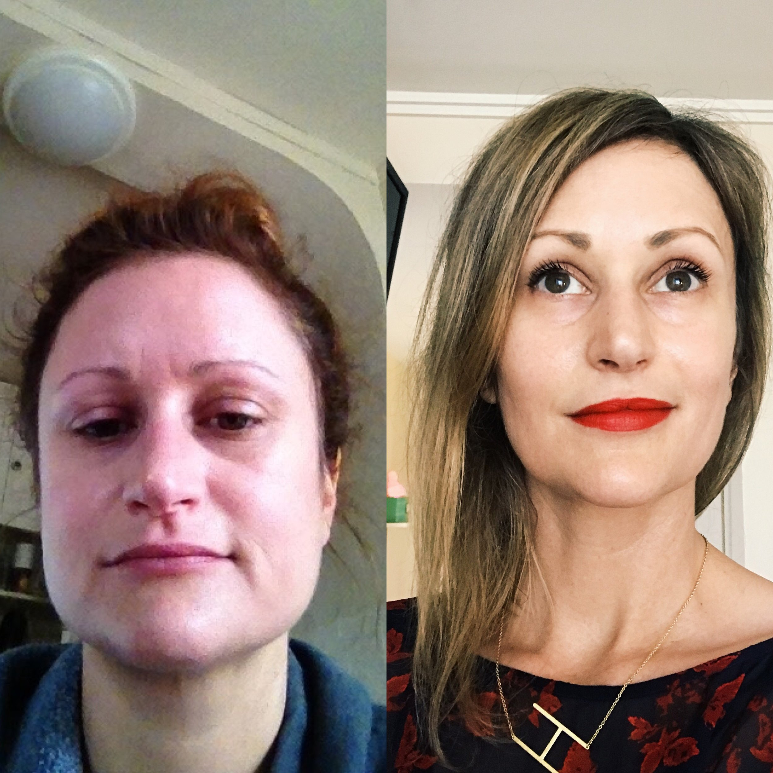 Left:  Age 33, 14 days before I quit drinking, post-bender;  Right:  Age 39, 5 years and 3 months sober from alcohol.