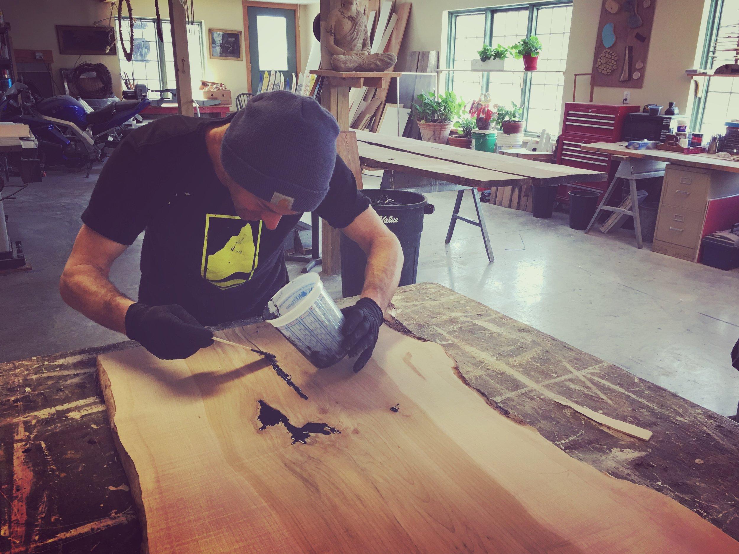 Mike detaling live edge bench. Vermont pro Construction.JPG