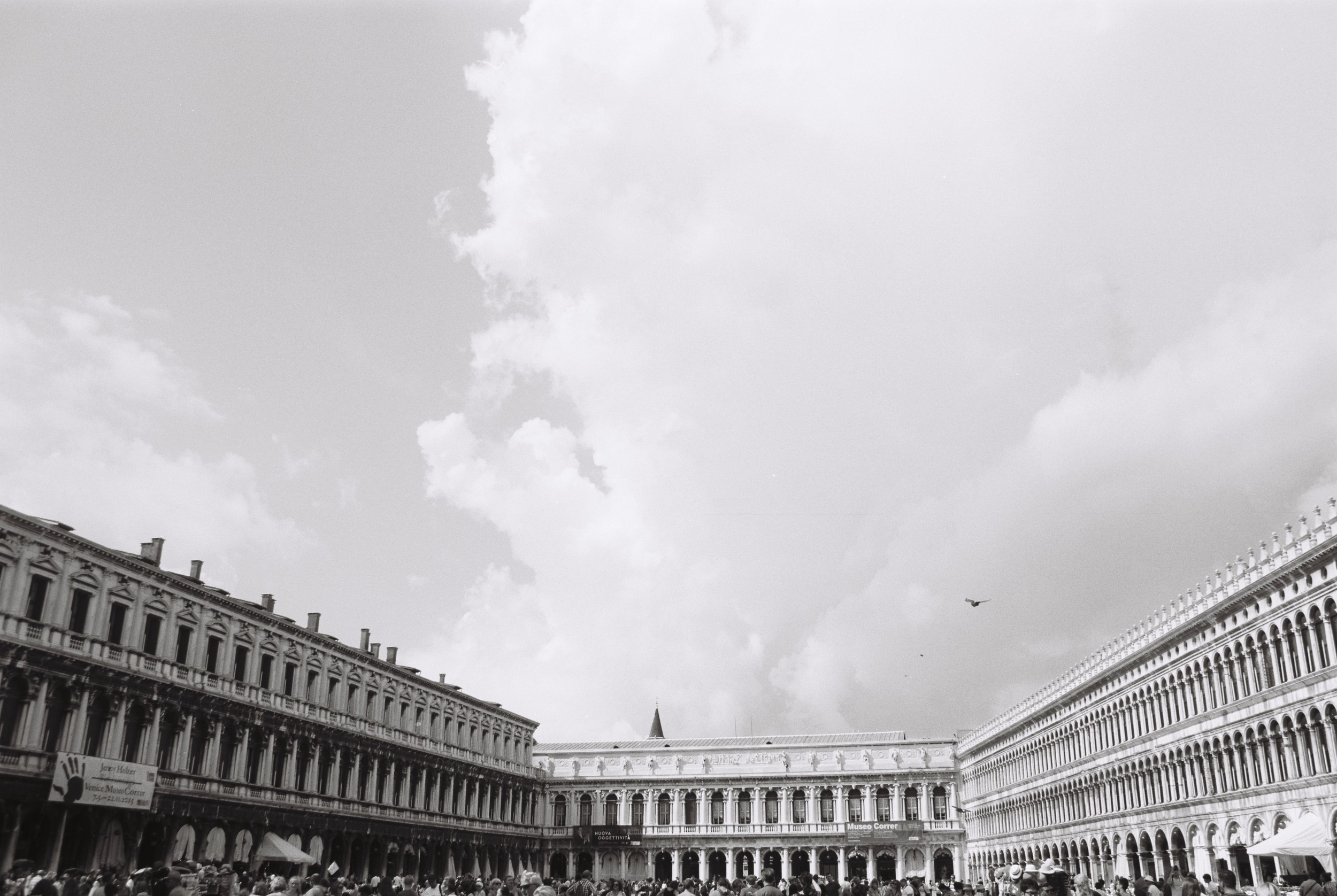 """St Mark's Square, which floods during the day. At around lunch the sea started making it's way through the drains. """"Opposite Drains"""". Odd."""