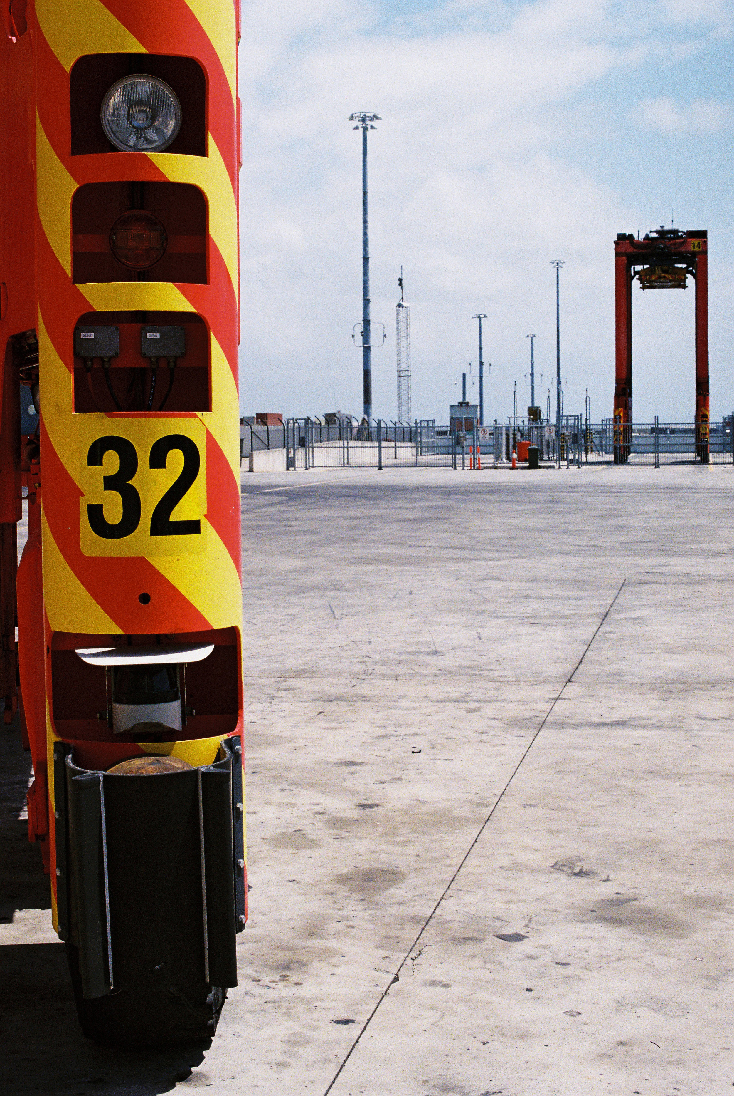 """Stanchions. Kind of reminded me of TRON. Robotic Container Pickers """"Straddlers""""."""