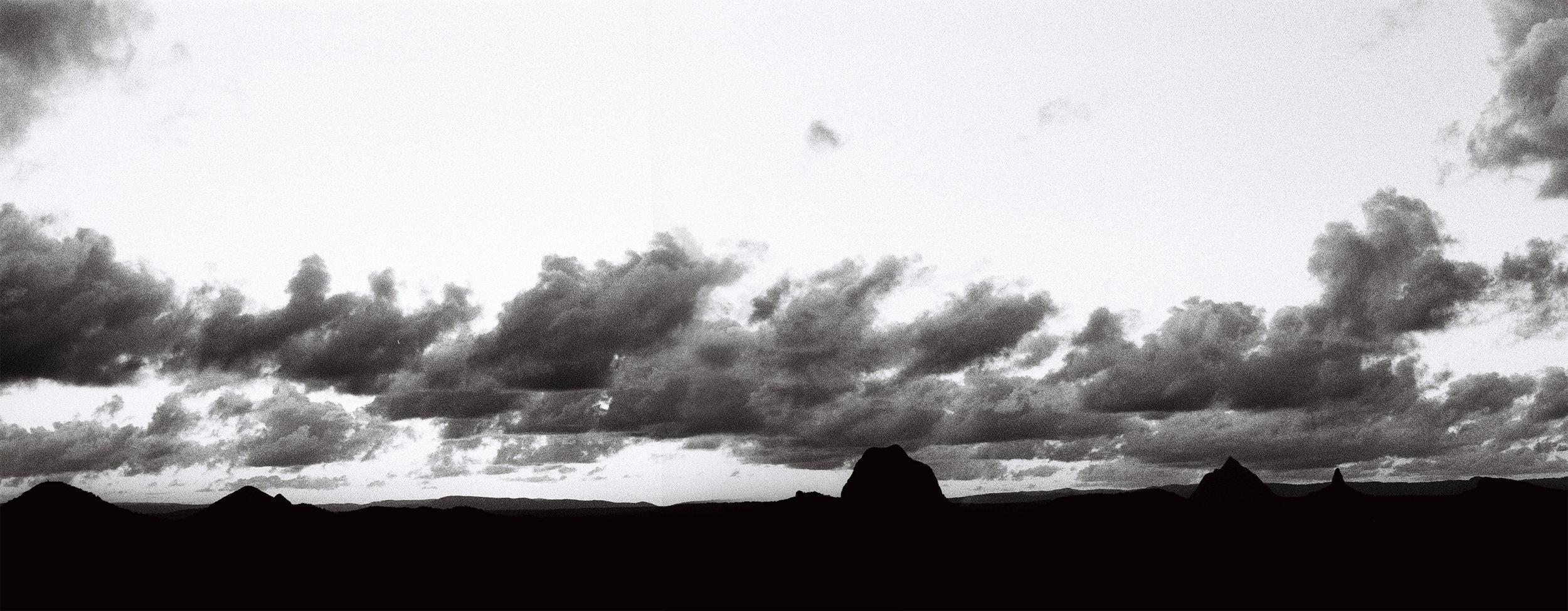 Glasshouse Mountains, from Glasshouse Mountains Lookout. Sunshine Coast, Qld Australia