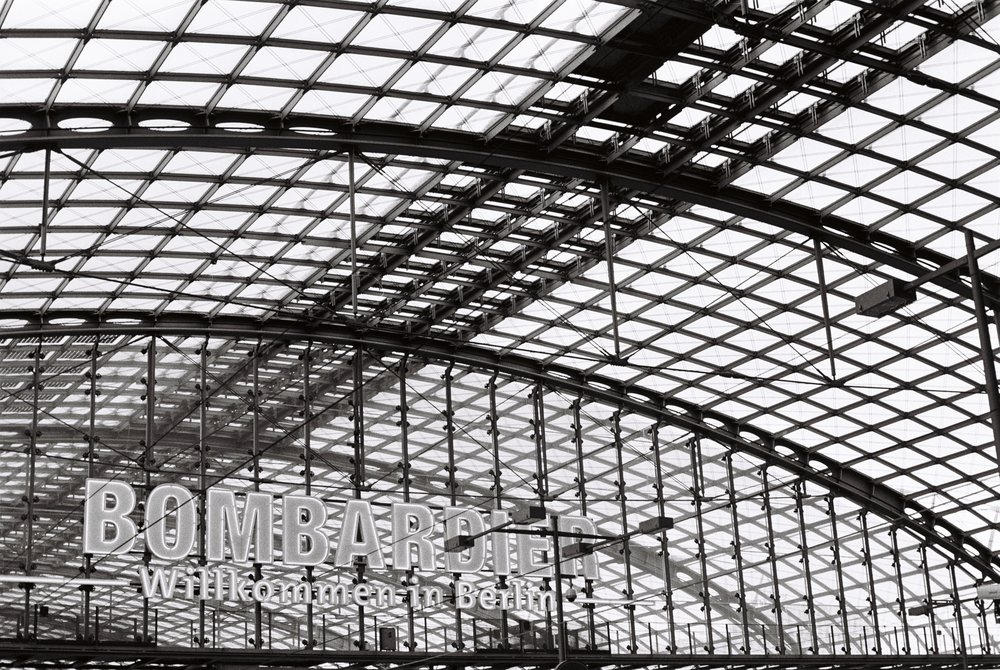 Berlin HBF. Berlin Central Station . Despite being a modern building, paying homage to the typical European Train Stations throughout. Vast spanning steel structures, self-supporting.