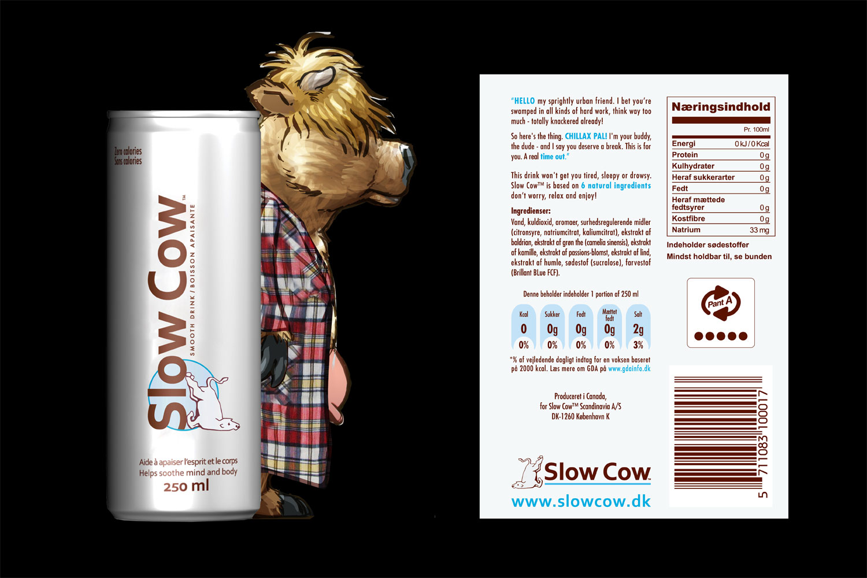 Carsten Herholdt: Copywriting af identitets-label-tekst til Slow Cow beverage drink.