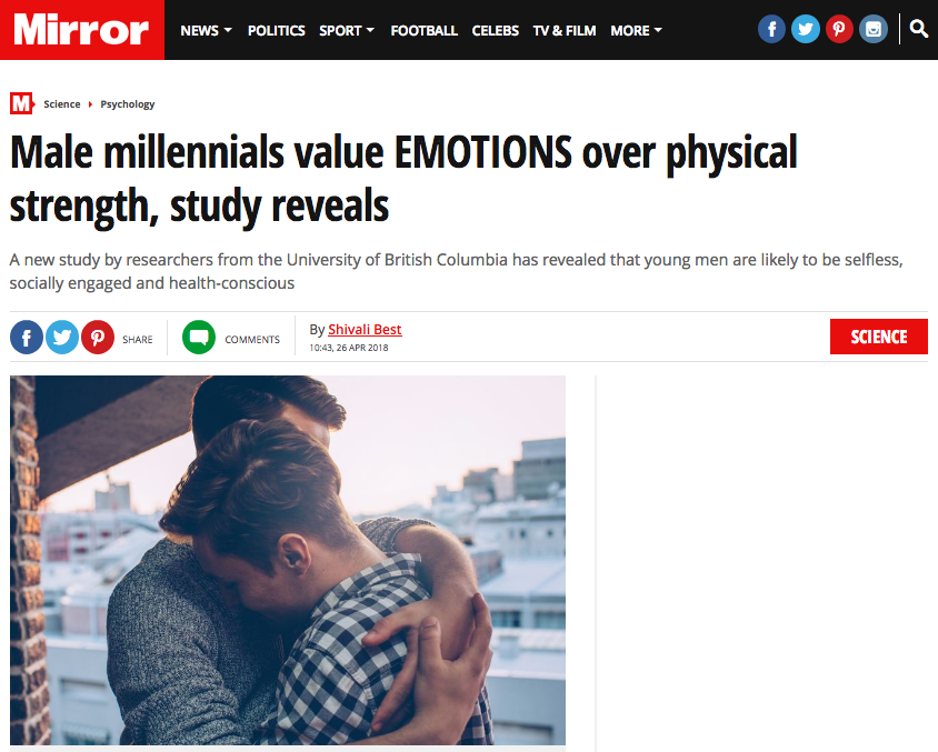 """The Mirror: """"They're often portrayed as selfish and thuggish, but it seems that male millennials may have a softer side.""""  Image: The Mirror"""