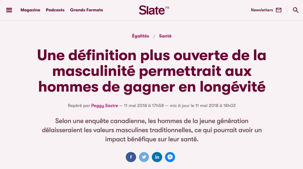 """Slate: """"Selon une enquête canadienne, les hommes de la jeune génération délaisseraient les valeurs masculines traditionnelles, ce qui pourrait avoir un impact bénéfique sur leur santé."""" Image: Slate"""