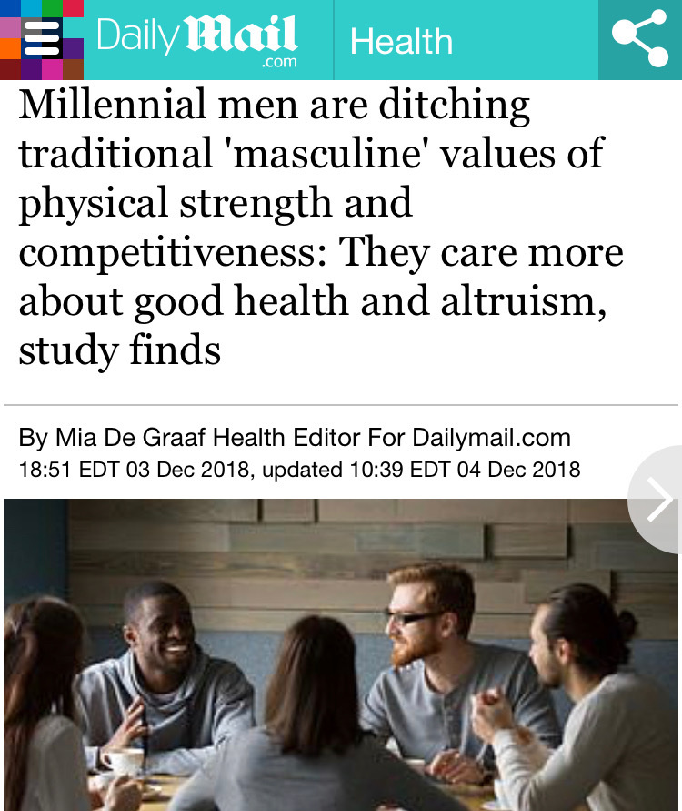 "Daily Mail: ""Millennial men are more selfless, health-conscious and socially engaged than previous generations, new research suggests."" Image: Daily Mail"