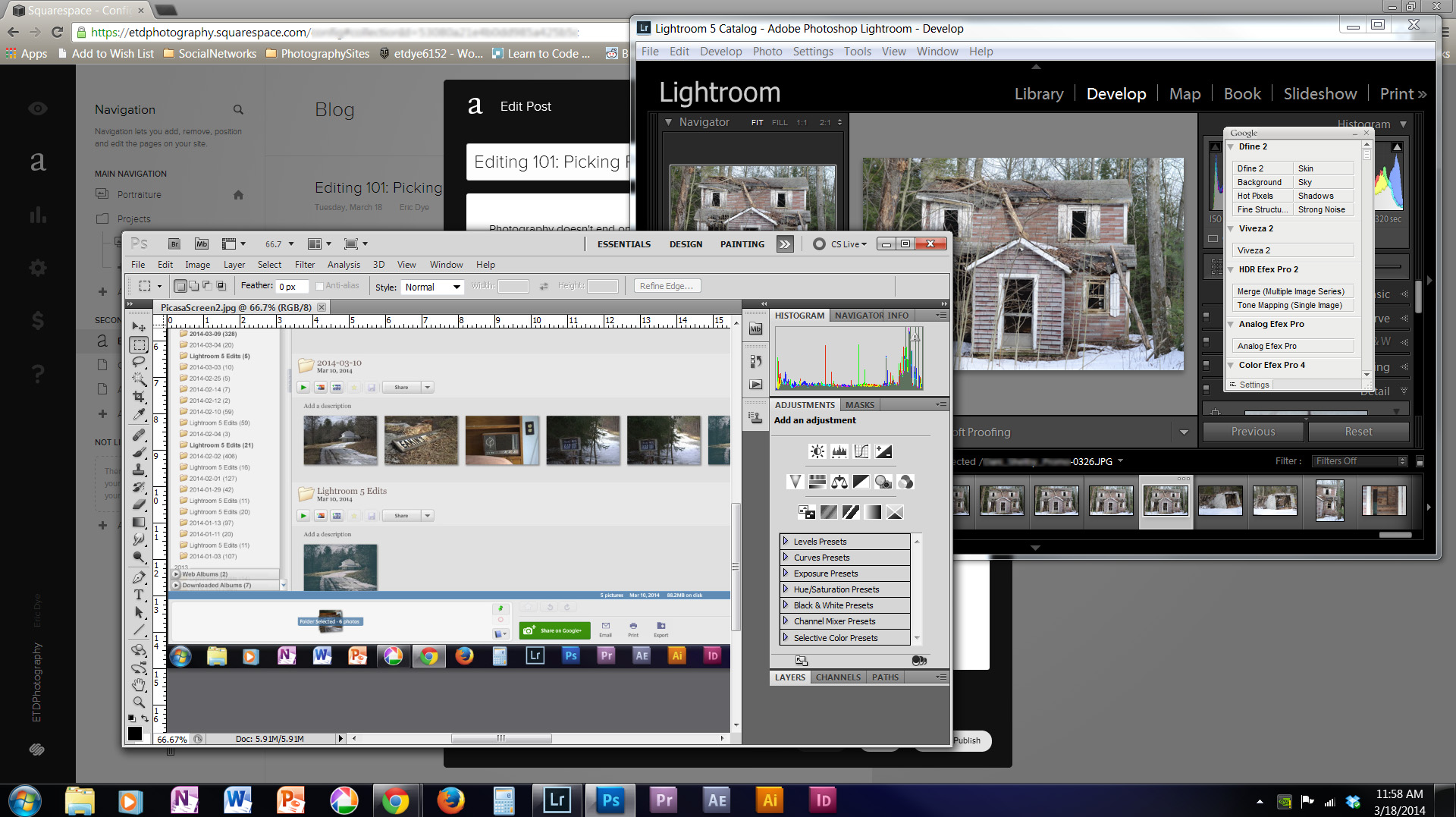 Lightroom and Photoshop are the two programs I use most.