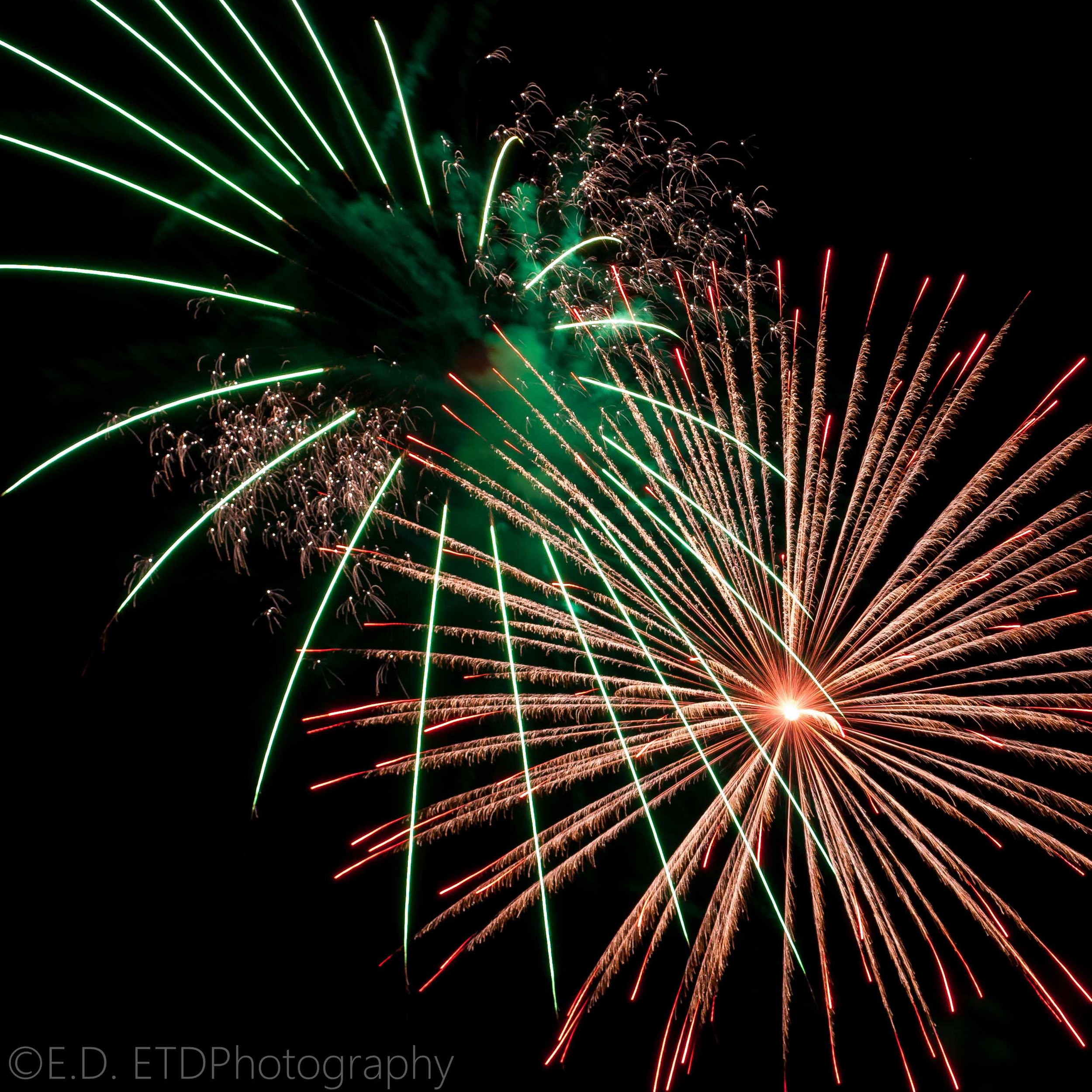 Longer shutter speeds are great for fireworks: Nikon D60 18-55mm @55mm f/9 1.5 sec. ISO - 100