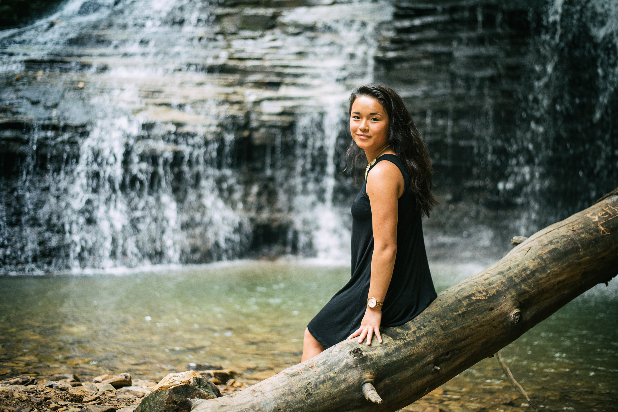 Freedom Falls outside of Rockland is great for engagements and senior portraits.