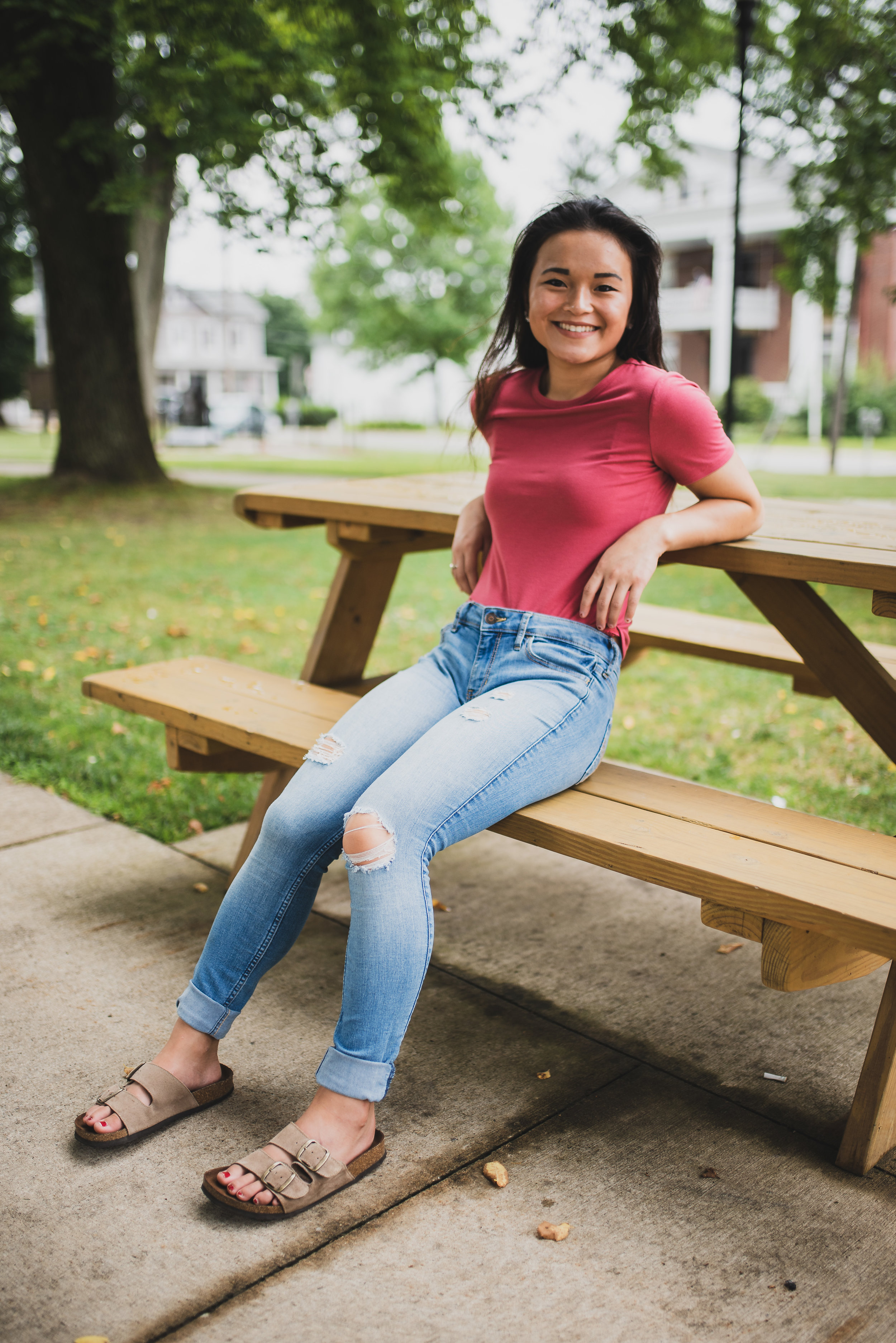 Clarion PA town square portrait on a bench