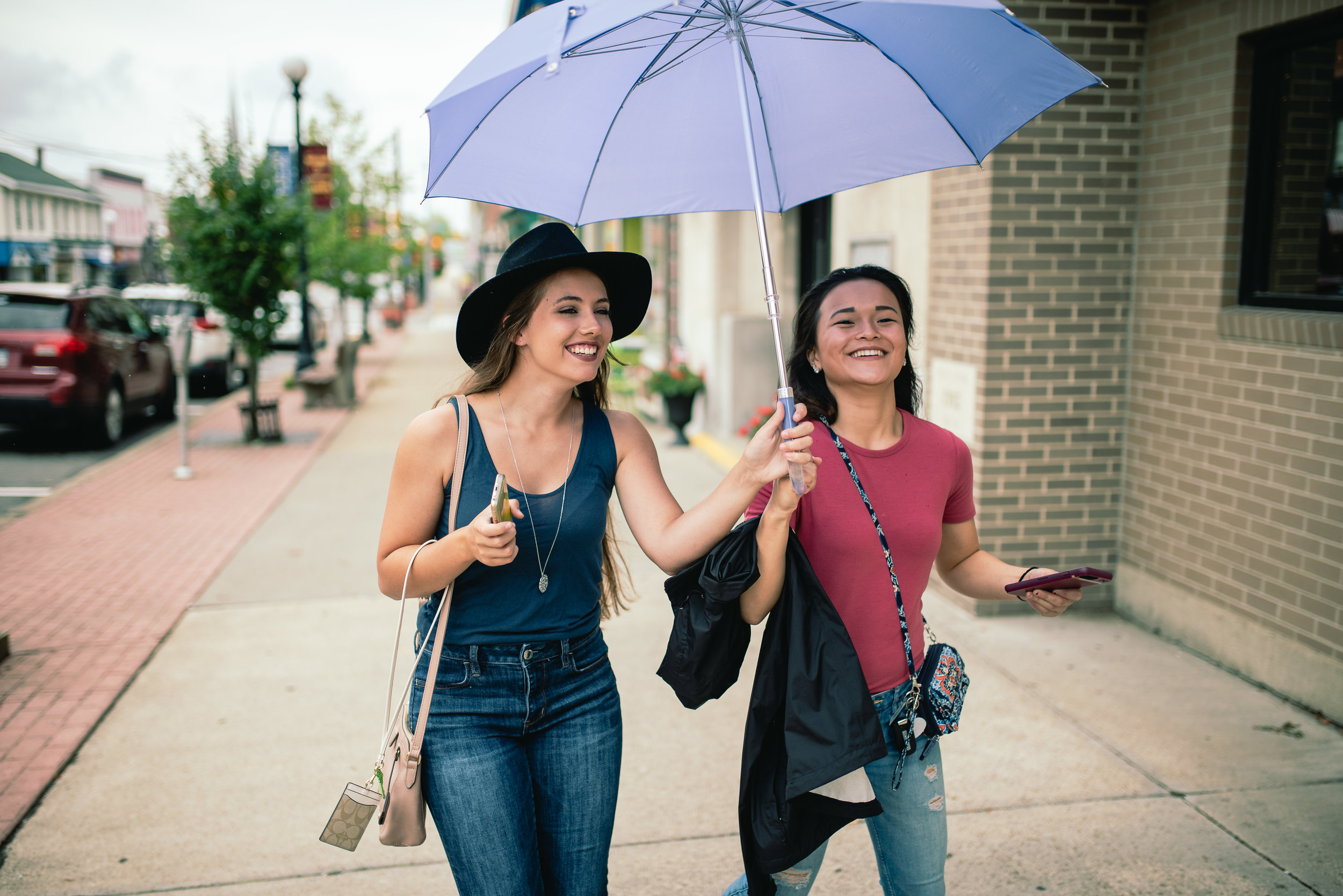Models walking down main street Clarion PA
