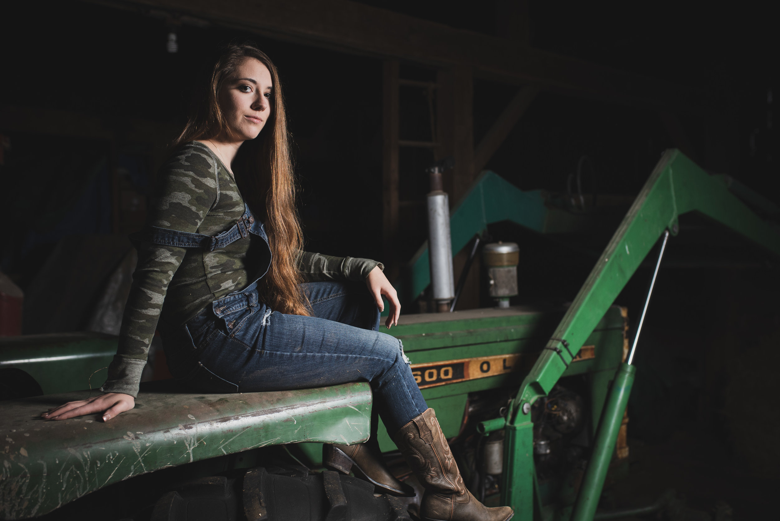 Fashion long hair tractor portrait