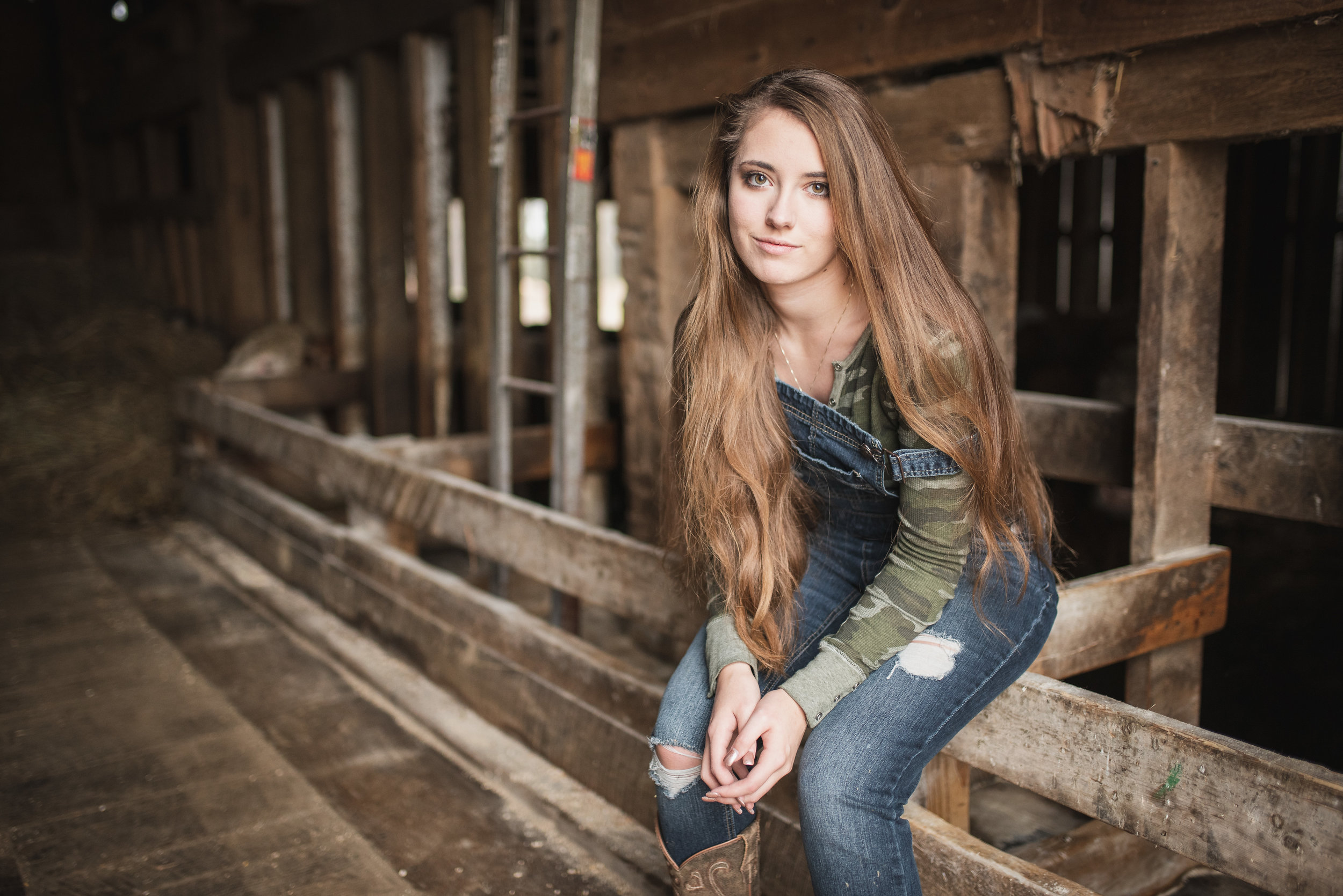 Sitting Portait of Country Girl With Long Hair