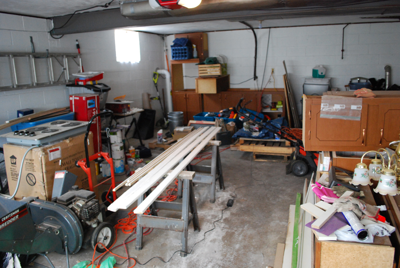 Before - Garage with kitchen cabinets, 2013