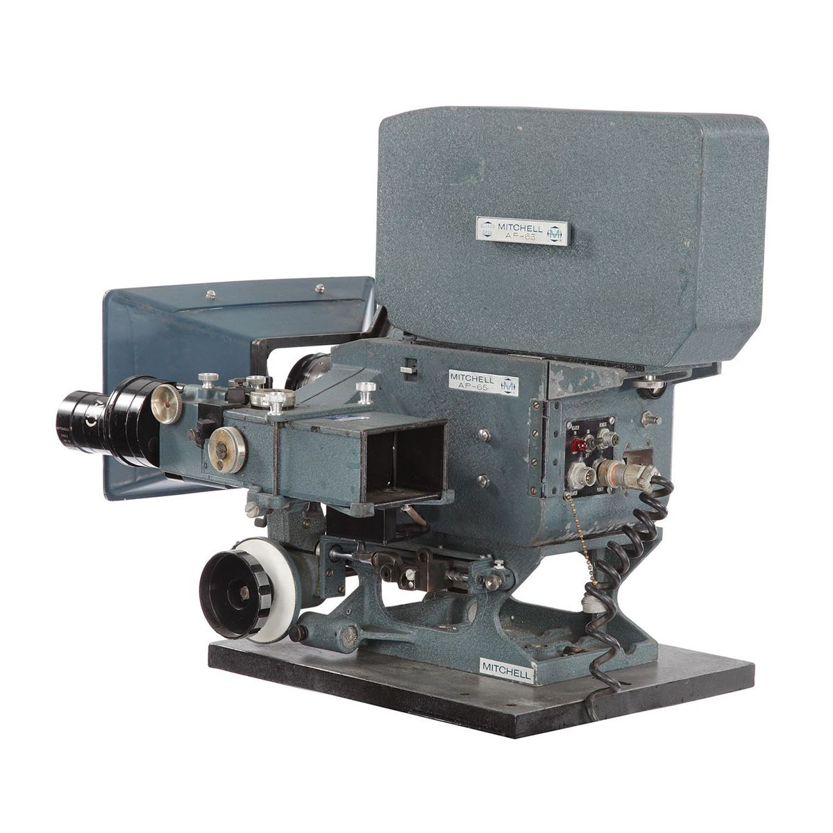 "A 65mm Mitchell Todd Ao Camera used in such productions as ""Patton"".  Light enough to be hand-held and used in areal mounts in helicopters."