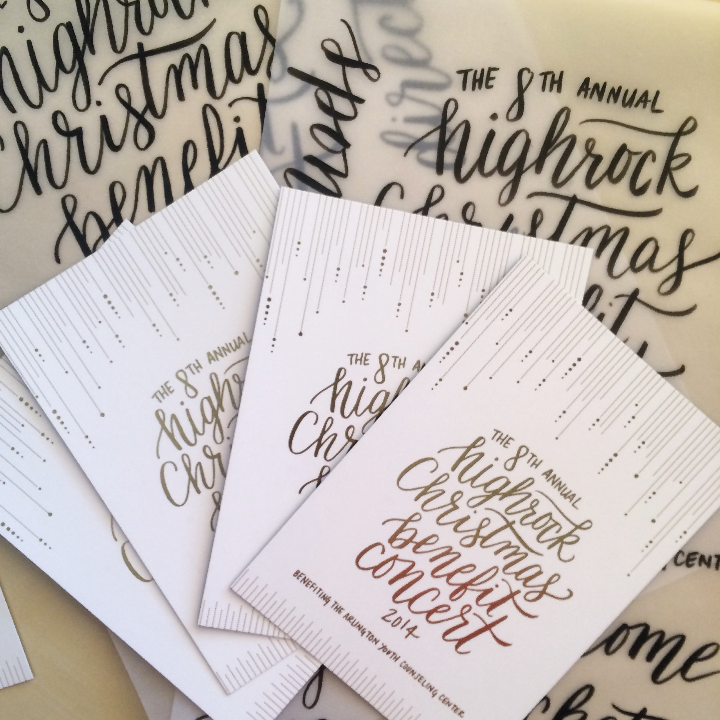 lettering for invitations and branding for Highrock Christmas Benefit Concert 2014