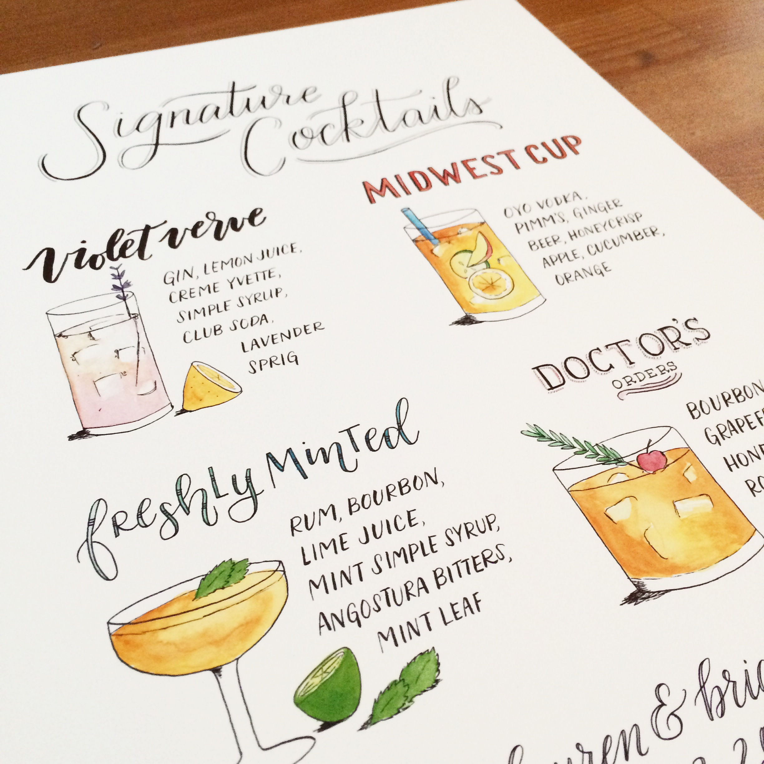 signature cocktail signage for a June wedding
