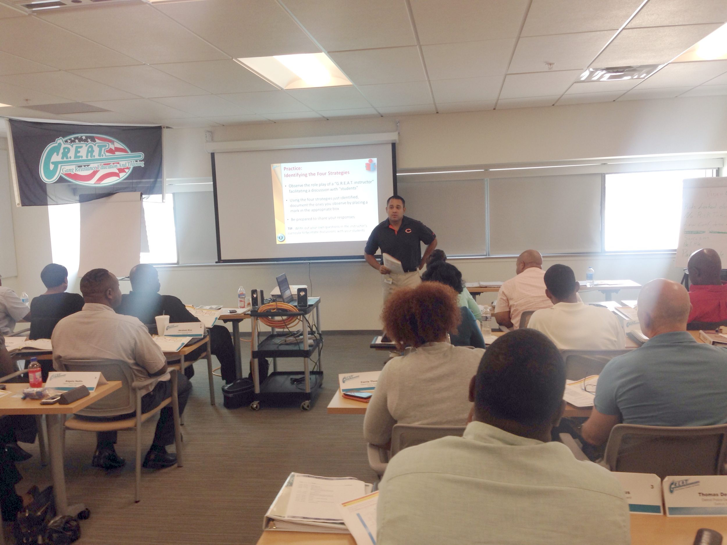 A.C. leading an educator workshop for police officers in Detroit, Michigan.