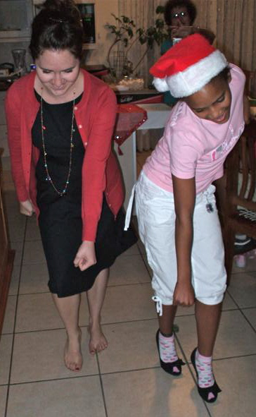 Nissi wears my heals to teach me the dance to All the Single Ladies.