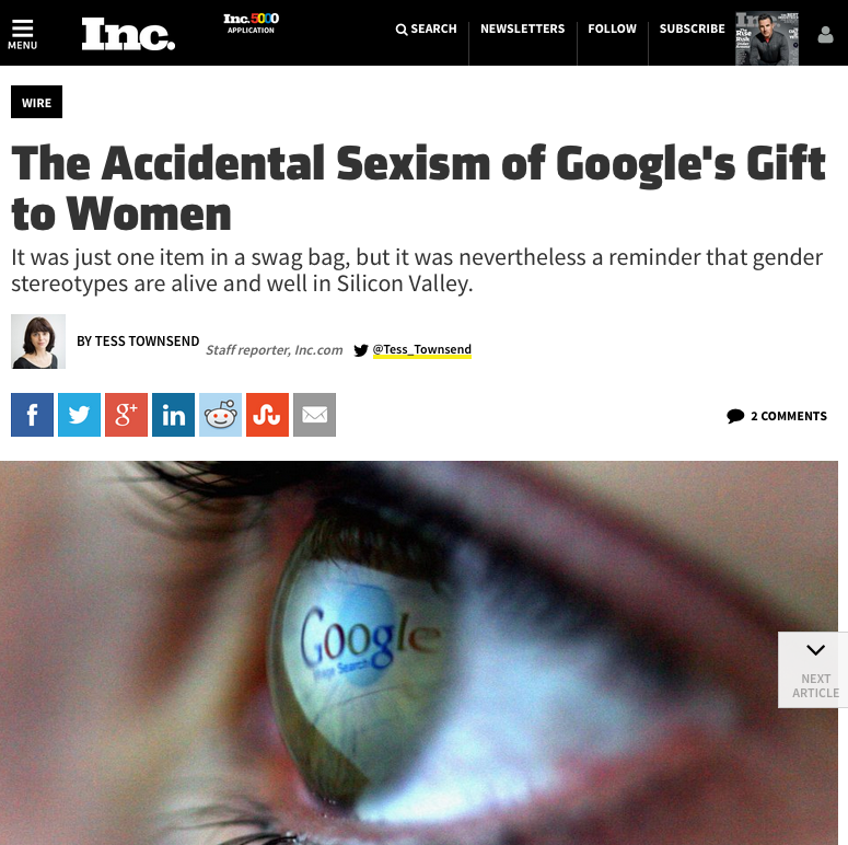 Quoted in article about Google's Event for Women in Technology.