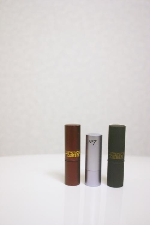 Packaging comparison: 1. Lipstick Queen Medieval / 2. Poppy King x No.7 / 3. Lipstick Queen Sinner
