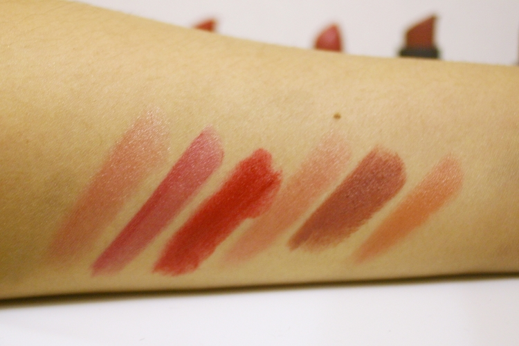 Swatches: two swipes on the skin. 1. LQ Medieval / 2. PK History / 3. LQ Red Sinner / 4. PK Intrigue / 5. Nude Sinner / 6. PK Allure