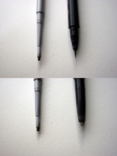 Clinique Superfine Liner for Brows (04 Black/Brown) vs Soap & Glory Archery (Brownie Points): top, brow tint; bottom, precision shaping pencil.