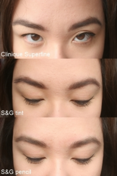 On the brows: Clinique Superfine liner for brows, Soap & Glory Archery brow tint and precision shaping pencil