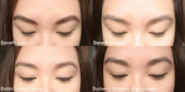 On the brows: Benefit Brow Zings, Bobbi Brown Taupe, Burberry Smokey Grey