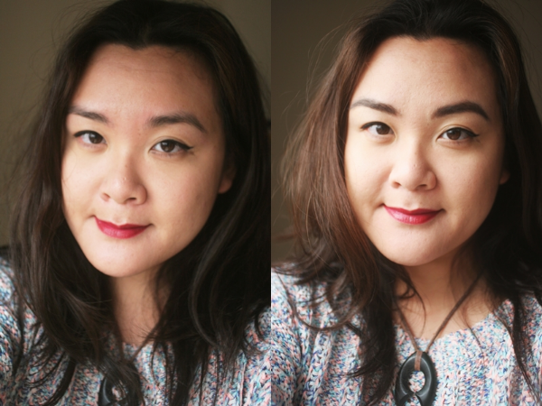 Left, before; right, after. I actually cheated -- the before was taken after I removed the Clinique Superfine Liner for Brows, hence the blotchy forehead. Concealer, Soap and Glory Kick Ass; powder, & Other Stories Powder; lipstick, & Other Stories in Montagnac Berry; mascara, & Other Stories Curling Mascara.
