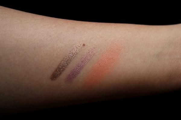 Korres swatches, L to R: Volcanic Minerals Eyeshadow sticks in Golden Bronze, Golden Pink, and Zea Mays Blush in 44 Orange on NC30 skin