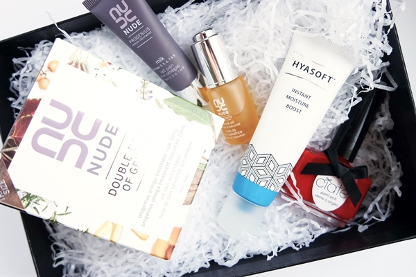 March 2016 box from The Libble Club: Nude Double Dose of Genius oil and moisturising milk, The Hero Project Hyasoft Instant Moisture Boost, and Ciate London Mistress nail paint.