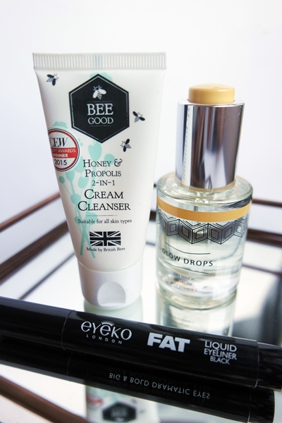 April 2016 box from The Libbie Club: Bee Good Cream Cleanser, The Hero Project Glow Drops, and Eyeko Fat Liquid Liner.