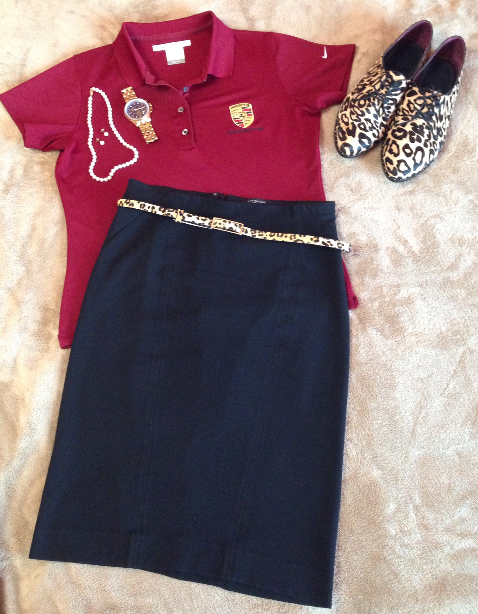 Skirt: Ann Taylor / Shoes: Report Tahoe2 (Zappos.com) / Belt: I don't remember, sorry! / Watch: Michael Kors