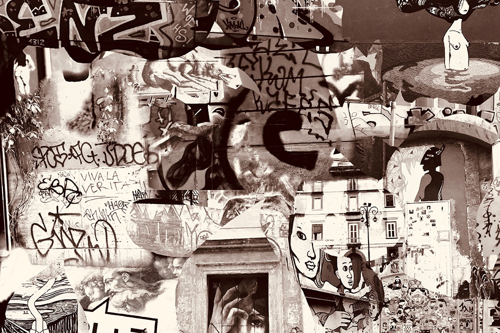 """""""Graffiti Collage"""" - Nelson Lowhim was born in Tanzania and is of Indian, Seychelles, Euro background. He lived in India for a year. At age 10, he moved to the States (all over) and currently lives in Seattle with his wife. He served in served in the US Army and has been published in Red Rock Review, Adbusters, BlazeVox, Talking Writing, Flyway Journal, and Omni, among others."""