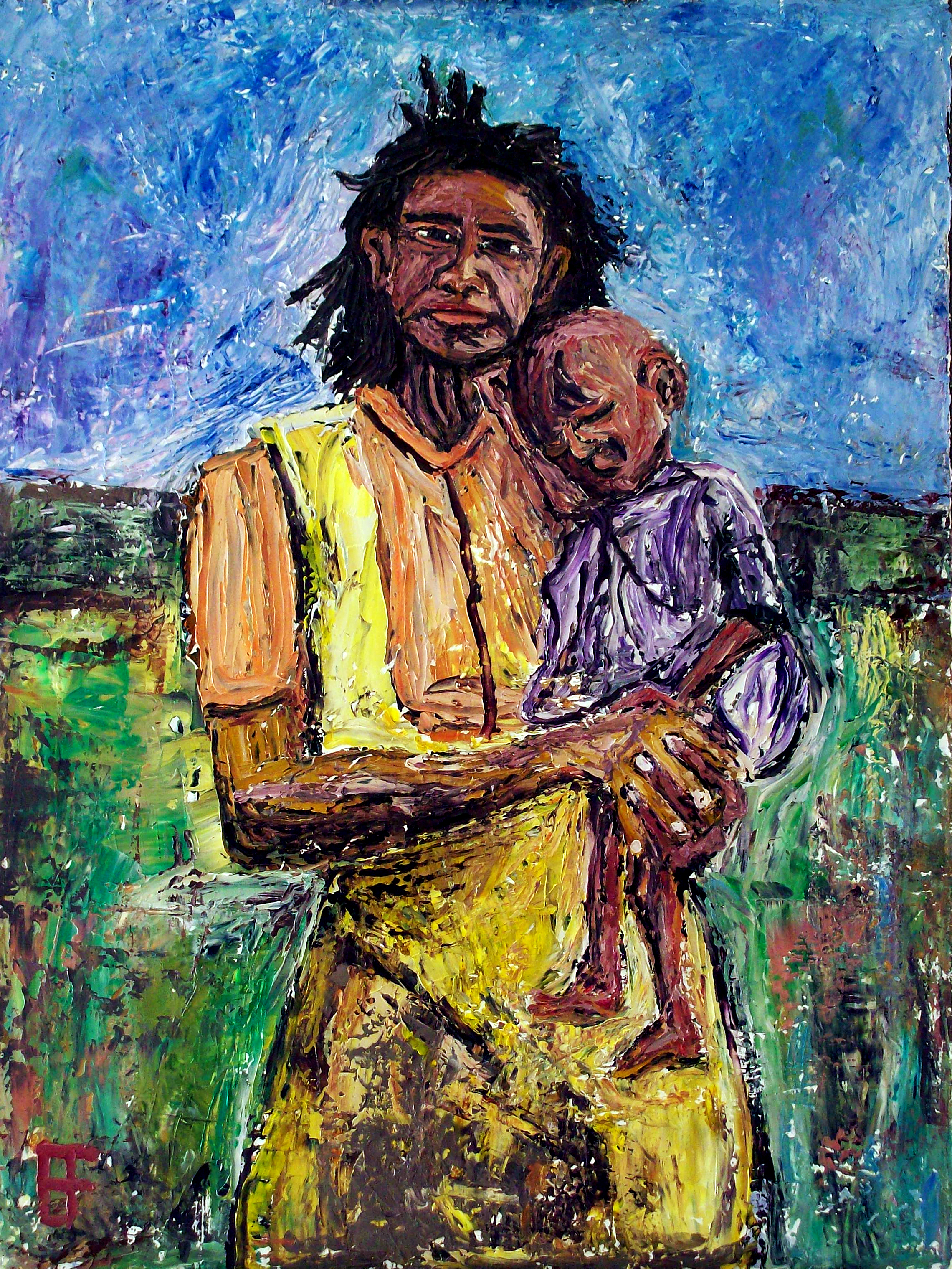 """""""Grandmother Holding Infant with Illness"""" by  Allen Forrest"""
