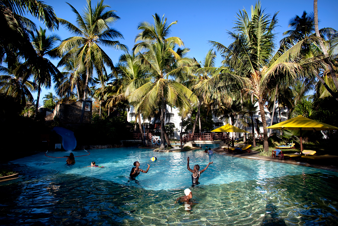 Mombasa, Kenya.  Girls having a holiday in a luxury resort.