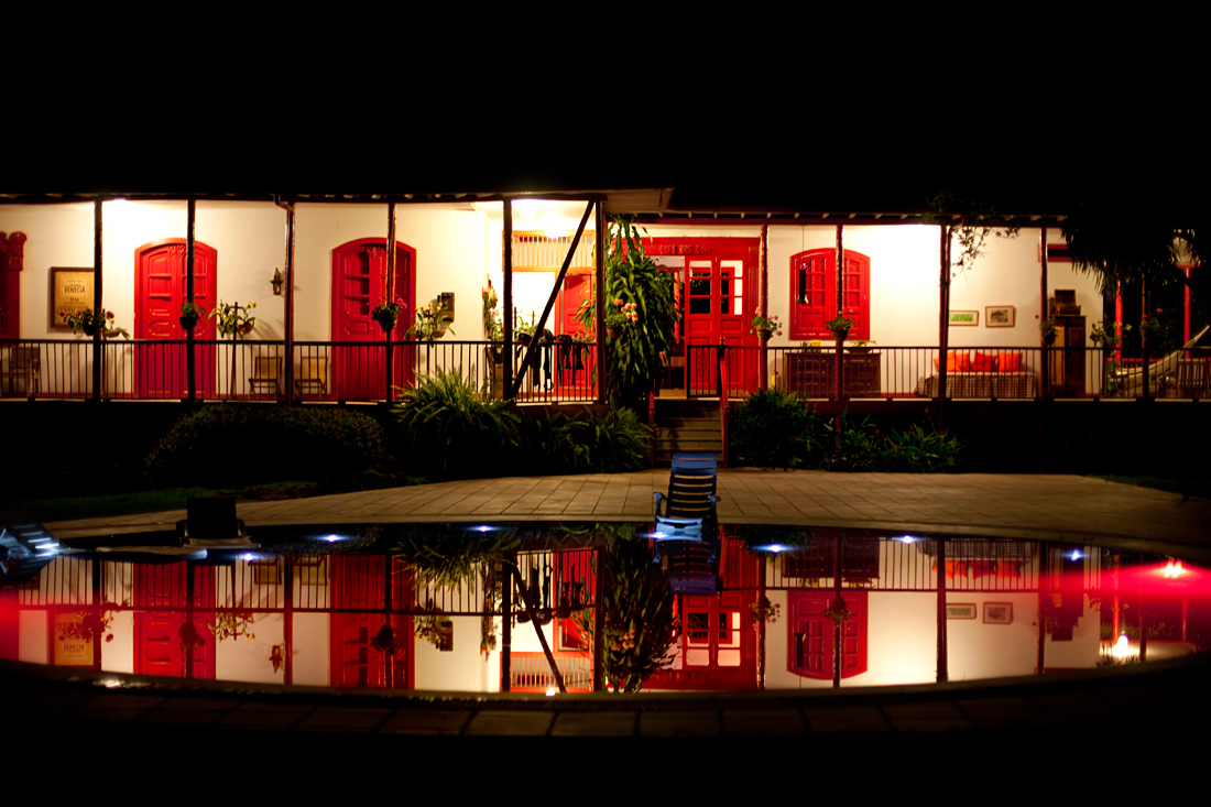 Manizales, Colombia.  Night swimming.