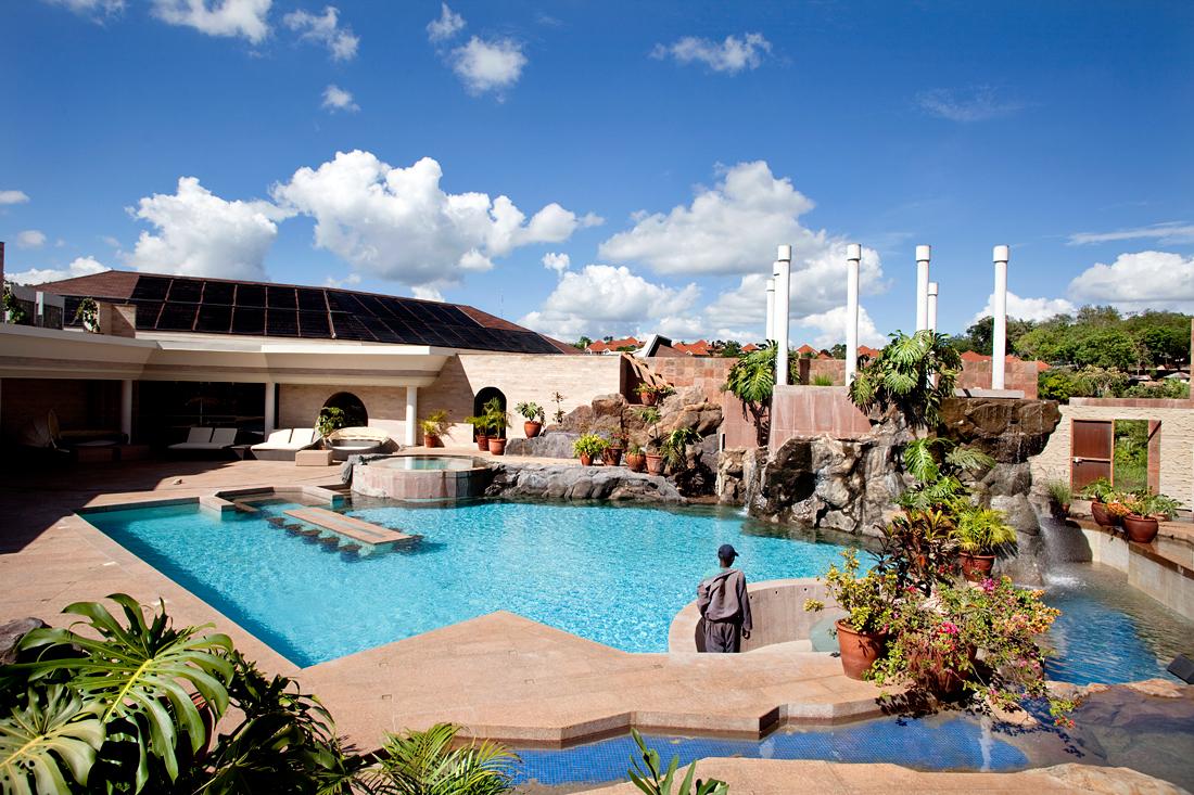 Nairobi, Kenya.  Restaurant with a view at the swimming pool.