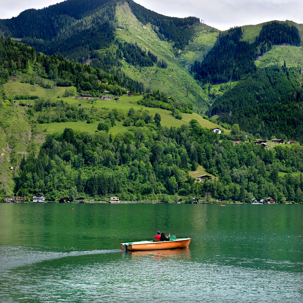 Boating on the Zell am See lake is popular.