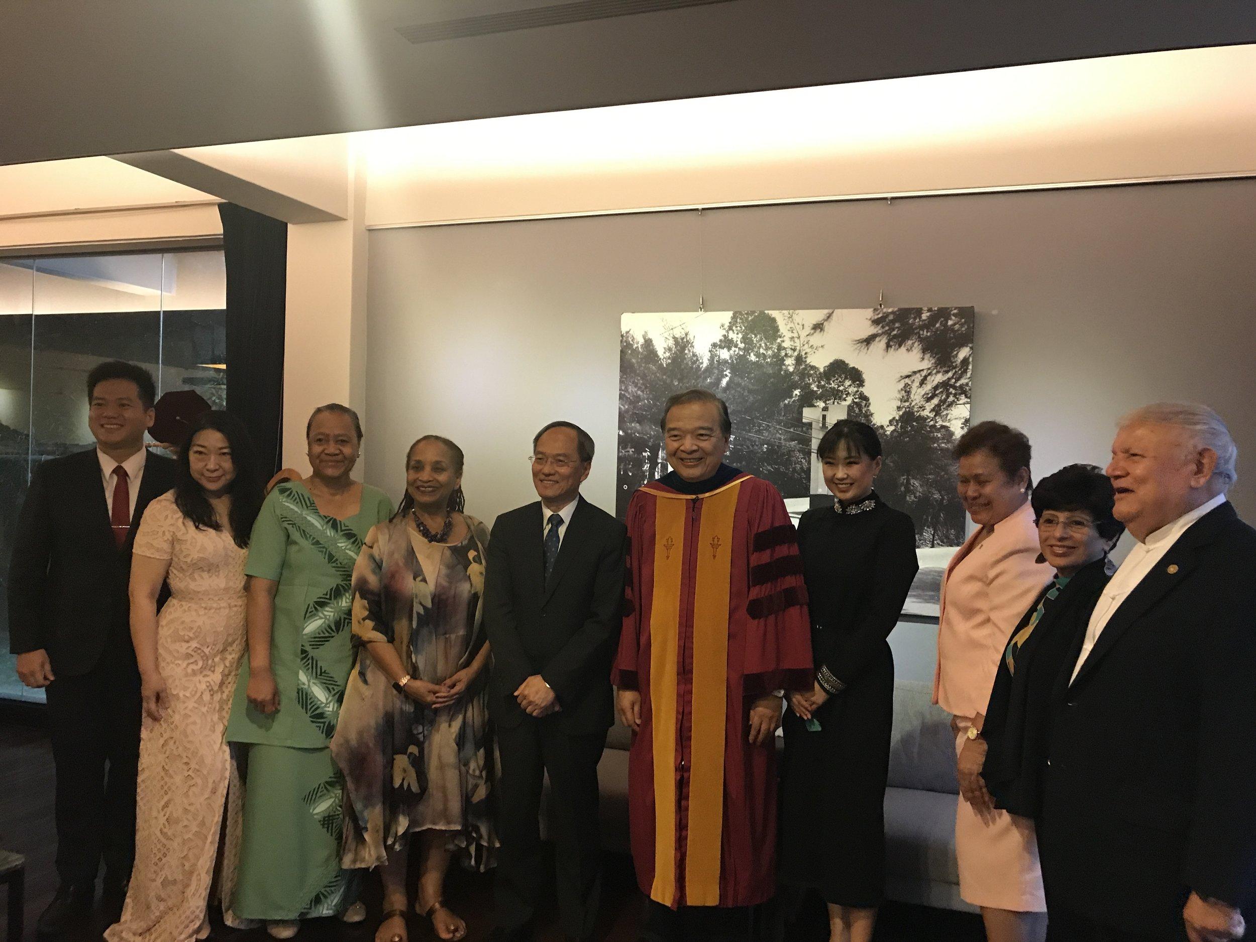 H.E. Ambassador Teatu with President Dr. Chuan Lee