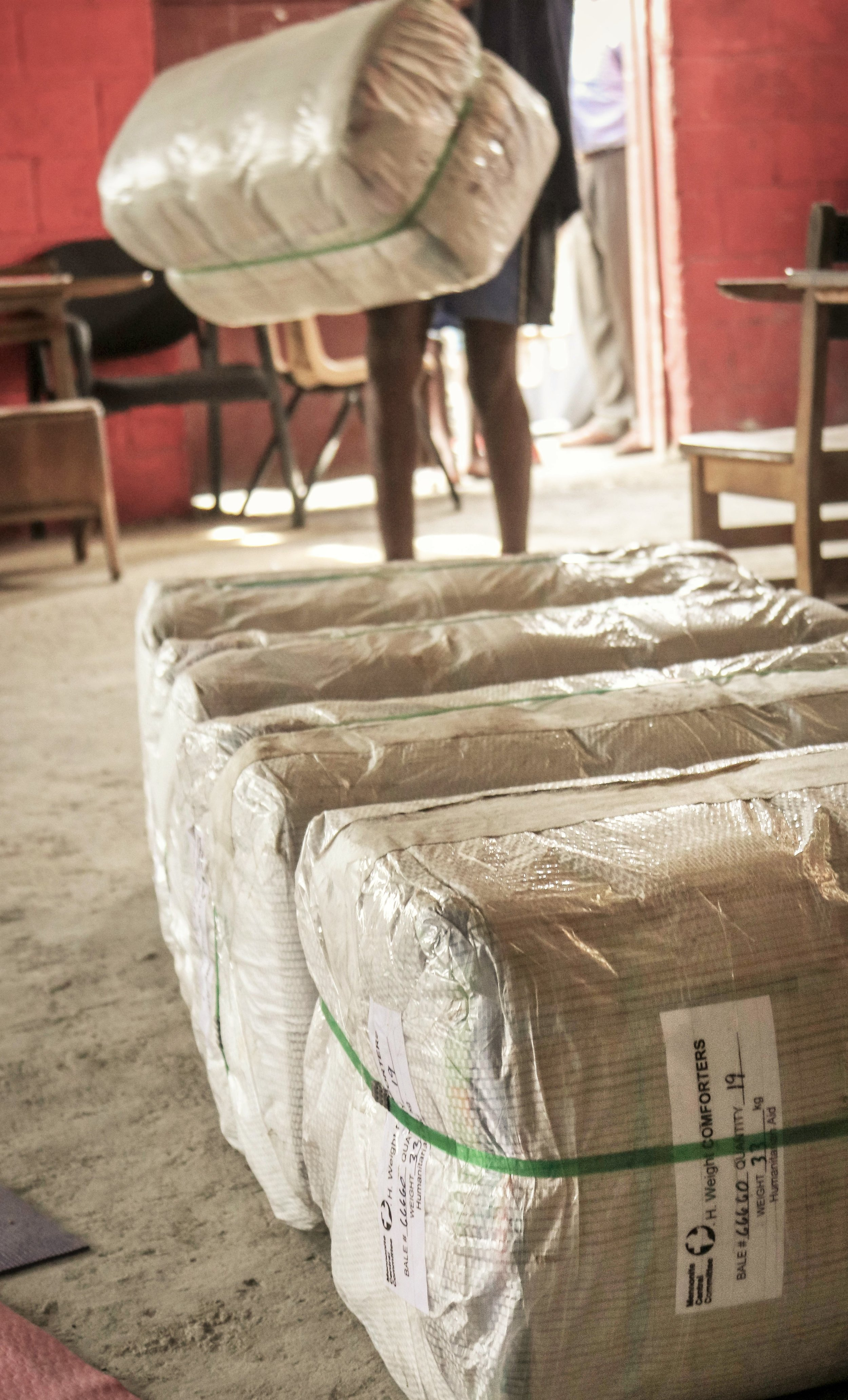 MCC comforters being staged for emergency distribution, Port-au-Prince, Haiti.